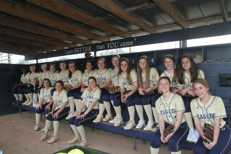 Eagles Softball Team in the dugout